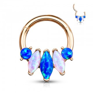 Coloured ring with attached segment and marquise opal stones