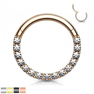 Coloured piercing attached segment ring paved with crystal front