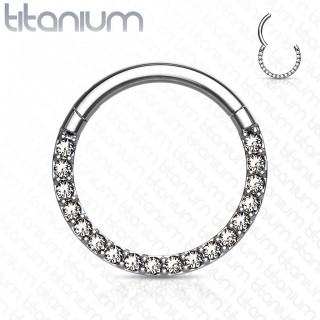 Titanium piercing ring with attached segment and front crystals