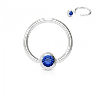 Basic ball closure ring with gemstone