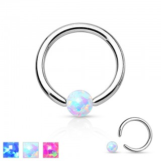 Ball closure ring met gekleurd Opal balletje