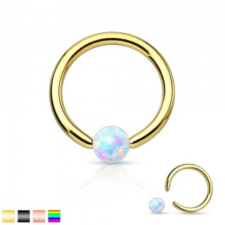 Gekleurde ball closure ring met wit Opal balletje
