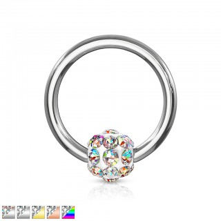 Coloured captive bead ring with ferido ball