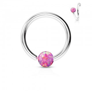 Piercing hoop with fixed coloured opal bead