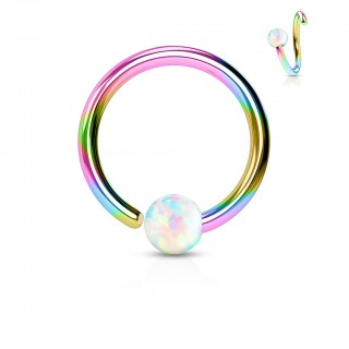 Rainbow piercing ring with fixed white opal ball