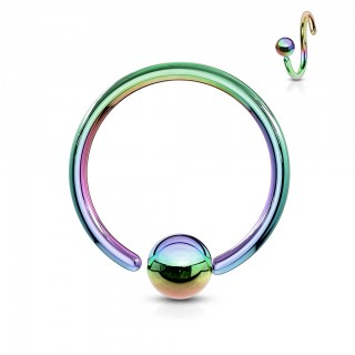 Coloured ball closure ring with fixed bead