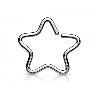 Coloured clip-on piercing with star - Silver