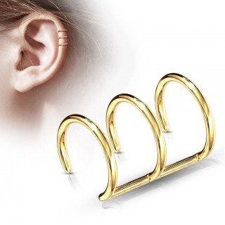 Trile fake gold piercing ring