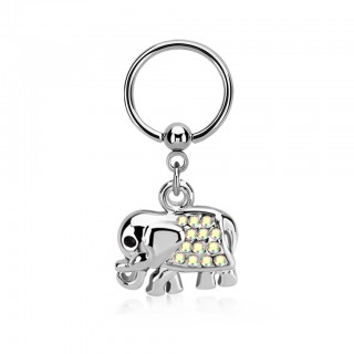 Ball closure ring with elephant dangle and coloured crystals