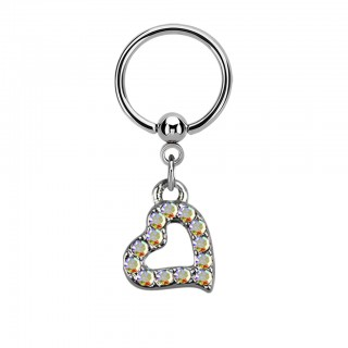 Ball closure ring with coloured crystal heart dangle