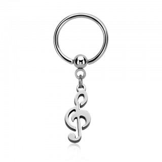 Coloured ball closure ring with dangling musical note