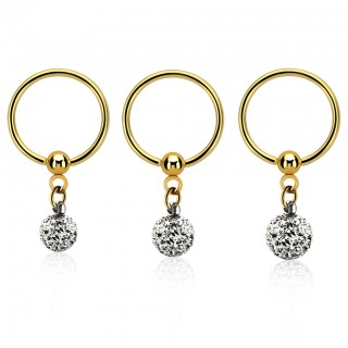 Gold ball closure ring with clear crystals on dangling ball
