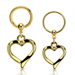 Gold ball closure ring with dangling heart and crystal