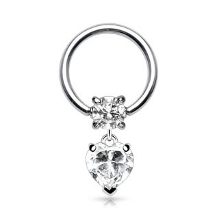 Ball closure ring with heart dangle