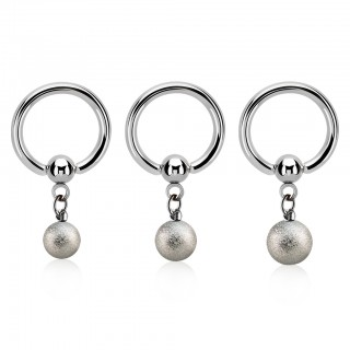Ball closure ring with sand blast ball dangle