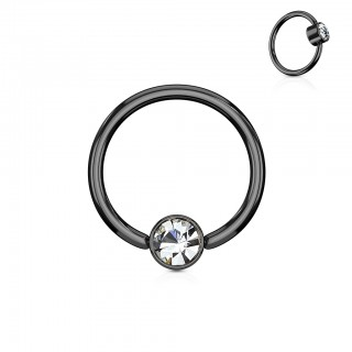 Ball closure ring with clear diamond in cylinder