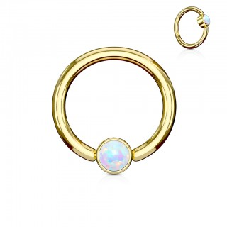 Gold ball closure ring with opal cylinder