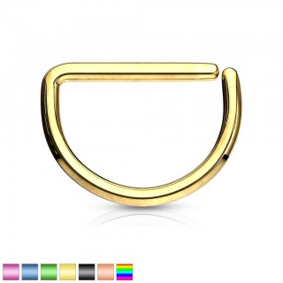 Plated steel piercing ring with D shape