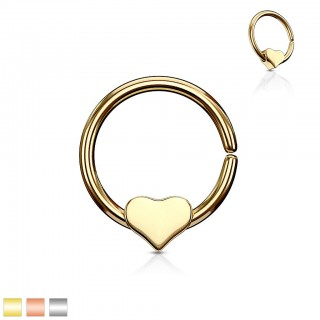 Coloured hooped piercing with detachable heart