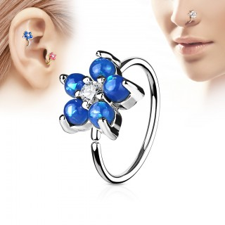 Hooped piercing with flower and opal gems