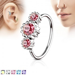 Piercing ring with 3 coloured round diamonds