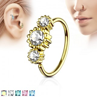 Gold piercing ring with 3 coloured round diamonds