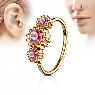Rose gold piercing ring with 3 coloured round diamonds