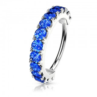 Coloured bendable piercing ring with twelve coloured crystals