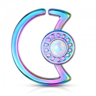 Opal glitter centred crescent moon multipurpose piercing rings