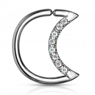 Coloured piercing ring in crescent shape with clear crystals