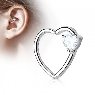 Hooped hollow heart piercing with coloured heart crystal
