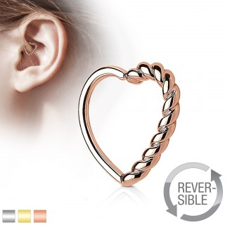 Piercing ring in heart shape with braided half
