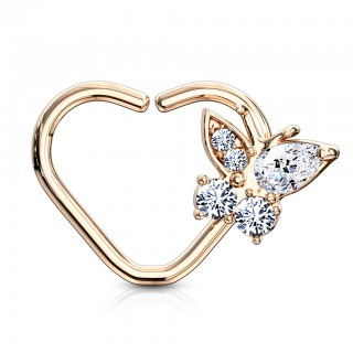 Heart shaped piercing ring with gem paved butterfly