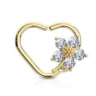 Heart shaped piercing ring with clear crystal flower