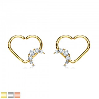 Multifunctional piercing heart ring with crystal paved crescent