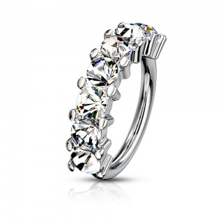 Multifunctional seven jeweled steel bendable piercing ring