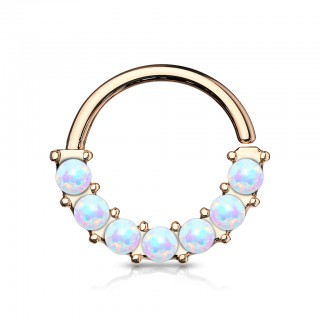 Coloured bendable multi-purpose front-facing opal lined piercing ring