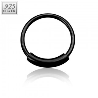 Sterling silver nose ring in black colour with bar
