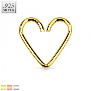 Sterling silver multifunctional heart shaped piercing ring