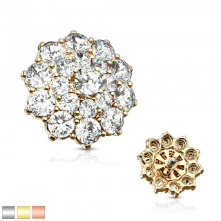 Surgical steel internally thread flower crystal dermal top
