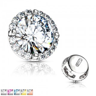 Round prong set crystal with small crystals as dermal top