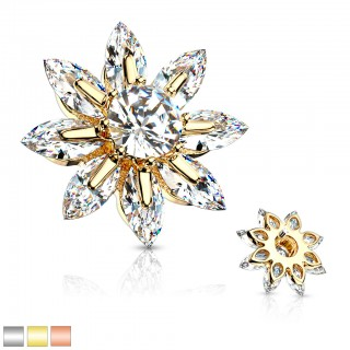 Shiny dermal top with marquise cut crystal flower