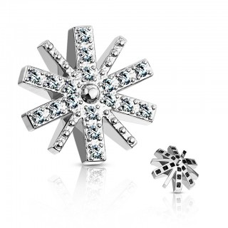 Coloured snowflake dermal top with clear crystal - Silver