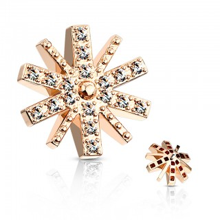 Coloured snowflake dermal top with clear crystal – Rose Gold