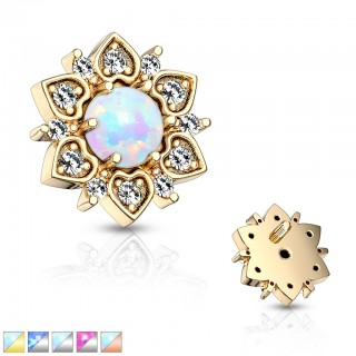 Crystalised floral dermal top with opal centre
