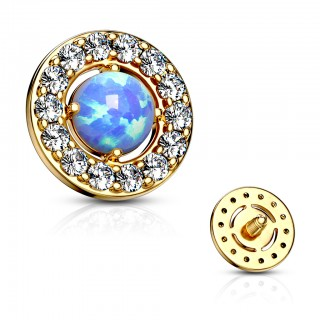 Internally threaded opal centred dermal with crystal edge