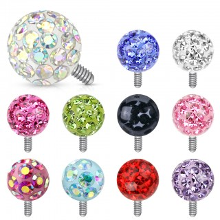 Coloured ferido style ball steel dermal anchor top