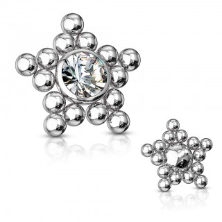 Coloured dermal top with star of beads and crystal – Silver
