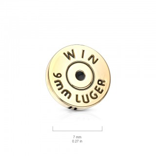 Internally threaded 7 mm bullet style gold dermal top