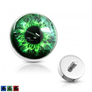 Dermal top of steel with coloured eyeball